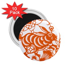 Chinese Zodiac Horoscope Rabbit Star Orange 2 25  Magnets (10 Pack)  by Mariart