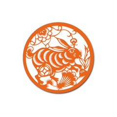 Chinese Zodiac Horoscope Rabbit Star Orange Magnet 3  (round) by Mariart