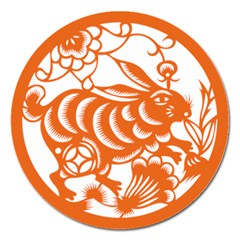 Chinese Zodiac Horoscope Rabbit Star Orange Magnet 5  (round) by Mariart