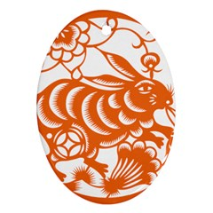 Chinese Zodiac Horoscope Rabbit Star Orange Oval Ornament (two Sides) by Mariart
