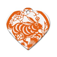 Chinese Zodiac Horoscope Rabbit Star Orange Dog Tag Heart (one Side) by Mariart