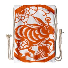 Chinese Zodiac Horoscope Rabbit Star Orange Drawstring Bag (large) by Mariart