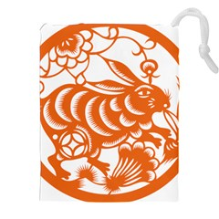 Chinese Zodiac Horoscope Rabbit Star Orange Drawstring Pouches (xxl) by Mariart