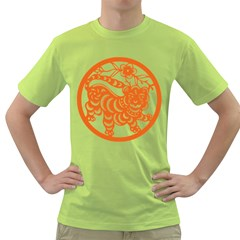 Chinese Zodiac Signs Tiger Star Orangehoroscope Green T Shirt by Mariart