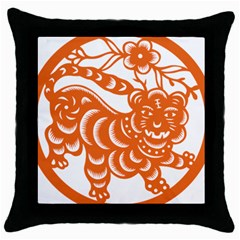 Chinese Zodiac Signs Tiger Star Orangehoroscope Throw Pillow Case (black)