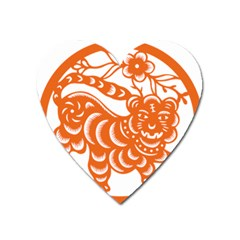 Chinese Zodiac Signs Tiger Star Orangehoroscope Heart Magnet by Mariart