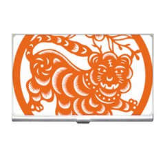 Chinese Zodiac Signs Tiger Star Orangehoroscope Business Card Holders by Mariart