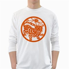 Chinese Zodiac Signs Tiger Star Orangehoroscope White Long Sleeve T-shirts by Mariart