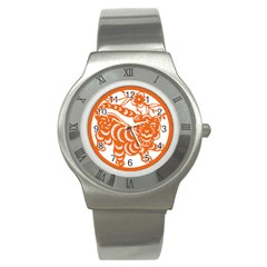 Chinese Zodiac Signs Tiger Star Orangehoroscope Stainless Steel Watch by Mariart