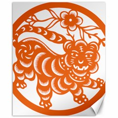 Chinese Zodiac Signs Tiger Star Orangehoroscope Canvas 16  X 20   by Mariart
