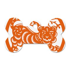 Chinese Zodiac Signs Tiger Star Orangehoroscope Dog Tag Bone (one Side) by Mariart
