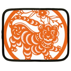 Chinese Zodiac Signs Tiger Star Orangehoroscope Netbook Case (xl)  by Mariart