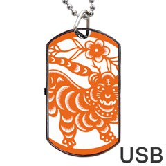 Chinese Zodiac Signs Tiger Star Orangehoroscope Dog Tag Usb Flash (one Side) by Mariart