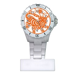 Chinese Zodiac Signs Tiger Star Orangehoroscope Plastic Nurses Watch by Mariart