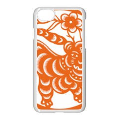 Chinese Zodiac Signs Tiger Star Orangehoroscope Apple Iphone 7 Seamless Case (white) by Mariart