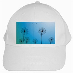 Flower Back Blue Green Sun Fly White Cap by Mariart