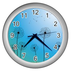 Flower Back Blue Green Sun Fly Wall Clocks (silver)  by Mariart