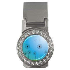 Flower Back Blue Green Sun Fly Money Clips (cz)  by Mariart