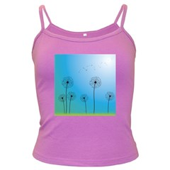 Flower Back Blue Green Sun Fly Dark Spaghetti Tank by Mariart