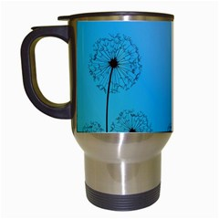 Flower Back Blue Green Sun Fly Travel Mugs (white) by Mariart