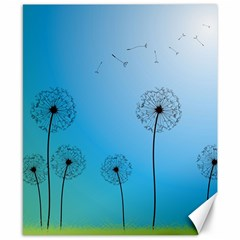 Flower Back Blue Green Sun Fly Canvas 8  X 10  by Mariart