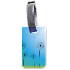 Flower Back Blue Green Sun Fly Luggage Tags (two Sides) by Mariart