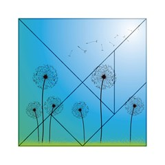 Flower Back Blue Green Sun Fly Acrylic Tangram Puzzle (6  X 6 ) by Mariart