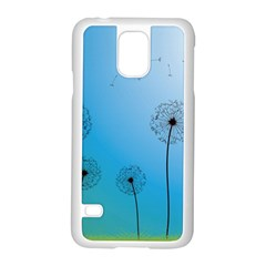 Flower Back Blue Green Sun Fly Samsung Galaxy S5 Case (white) by Mariart