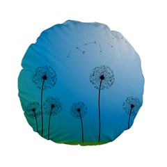Flower Back Blue Green Sun Fly Standard 15  Premium Flano Round Cushions by Mariart