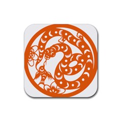 Chinese Zodiac Horoscope Snake Star Orange Rubber Square Coaster (4 Pack)  by Mariart