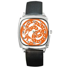 Chinese Zodiac Horoscope Snake Star Orange Square Metal Watch by Mariart