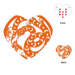 Chinese Zodiac Horoscope Snake Star Orange Playing Cards (heart)  by Mariart