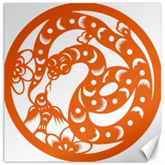 Chinese Zodiac Horoscope Snake Star Orange Canvas 20  X 20