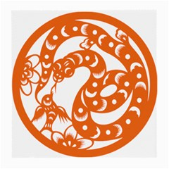 Chinese Zodiac Horoscope Snake Star Orange Medium Glasses Cloth (2-side) by Mariart