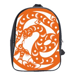 Chinese Zodiac Horoscope Snake Star Orange School Bags(large)