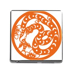 Chinese Zodiac Horoscope Snake Star Orange Memory Card Reader (square) by Mariart