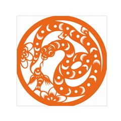 Chinese Zodiac Horoscope Snake Star Orange Small Satin Scarf (square) by Mariart