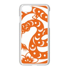 Chinese Zodiac Horoscope Snake Star Orange Apple Iphone 7 Seamless Case (white) by Mariart