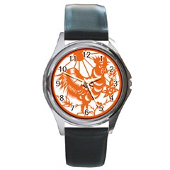 Chinese Zodiac Horoscope Zhen Icon Star Orangechicken Round Metal Watch