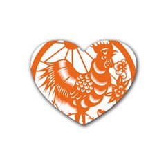Chinese Zodiac Horoscope Zhen Icon Star Orangechicken Rubber Coaster (heart)  by Mariart