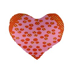Distance Absence Sea Holes Polka Dot Line Circle Orange Chevron Wave Standard 16  Premium Flano Heart Shape Cushions by Mariart