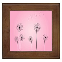Flower Back Pink Sun Fly Framed Tiles by Mariart