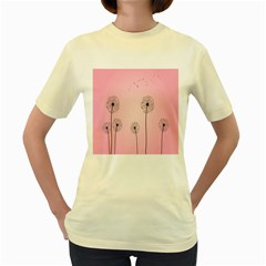 Flower Back Pink Sun Fly Women s Yellow T Shirt by Mariart