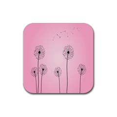 Flower Back Pink Sun Fly Rubber Coaster (square)  by Mariart