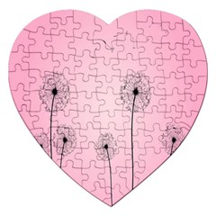Flower Back Pink Sun Fly Jigsaw Puzzle (heart) by Mariart