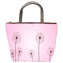 Flower Back Pink Sun Fly Bucket Bags by Mariart