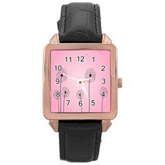 Flower Back Pink Sun Fly Rose Gold Leather Watch  by Mariart