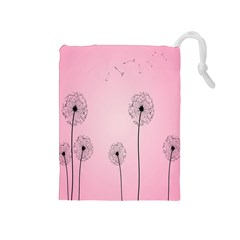Flower Back Pink Sun Fly Drawstring Pouches (medium)  by Mariart