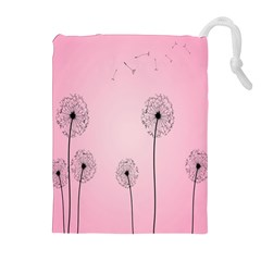 Flower Back Pink Sun Fly Drawstring Pouches (extra Large) by Mariart