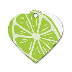 Gerald Lime Green Dog Tag Heart (two Sides) by Mariart